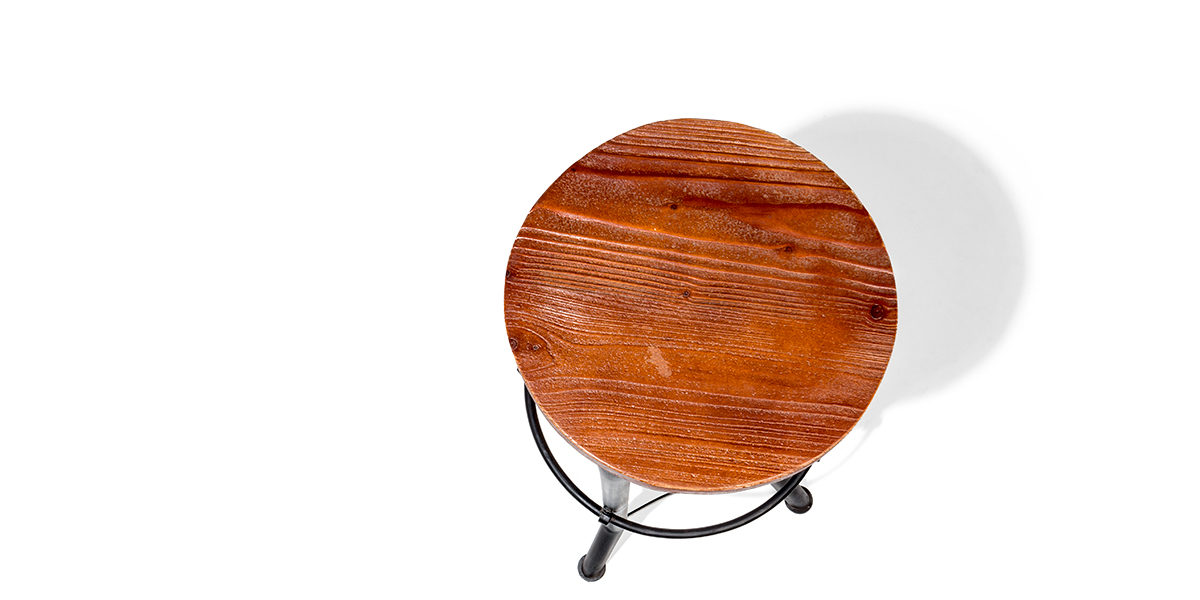 Cast Iron + Wood Stool CHR014182