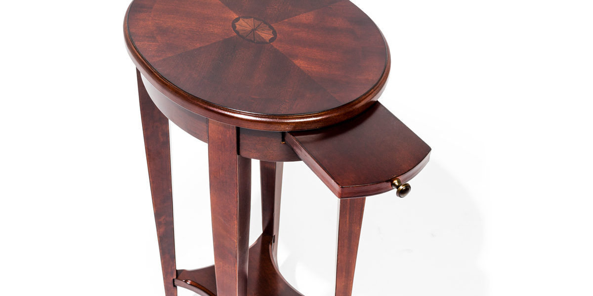 "12.5""w x 15.5""d Dark Cherry Oval Accent Table TBL014175"