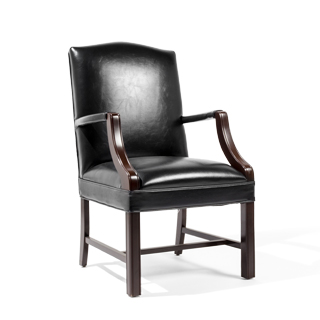 traditional guest chair in jamestown black leather - thumbnail