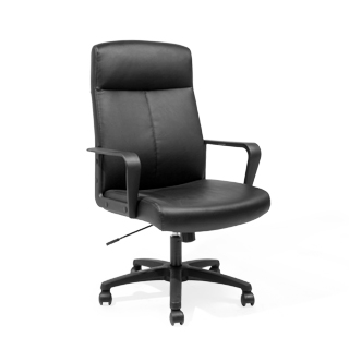 Executive swivel high-back office chair in black leather - thumbnail