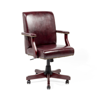 mid-back traditional office chair in oxblood leather with mahogany base - thumbnail