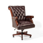 executive high back chair in brown leather - thumbnail