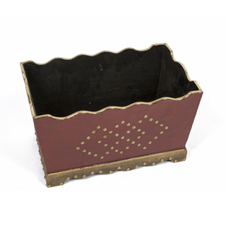 """9.5""""h Red Wood Planter ACC000974"""