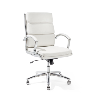 White Leather Mid-Back Office Chair CHR013969