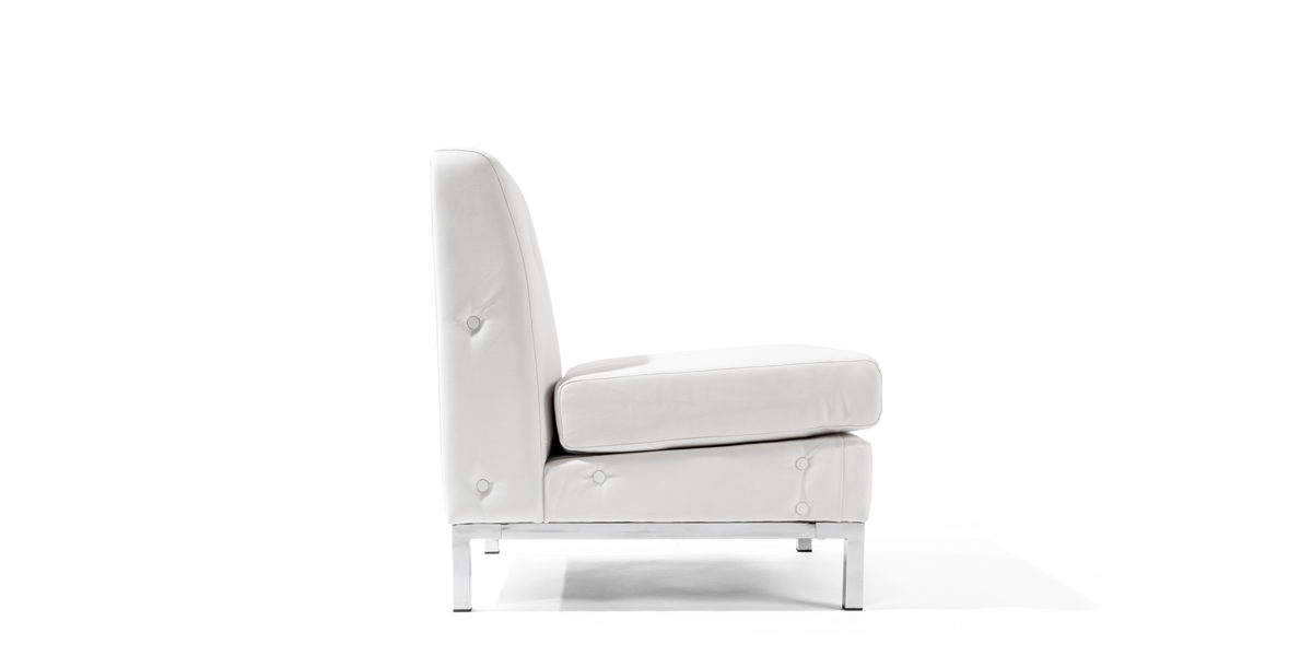 White Faux Leather Club Chair CHR014275