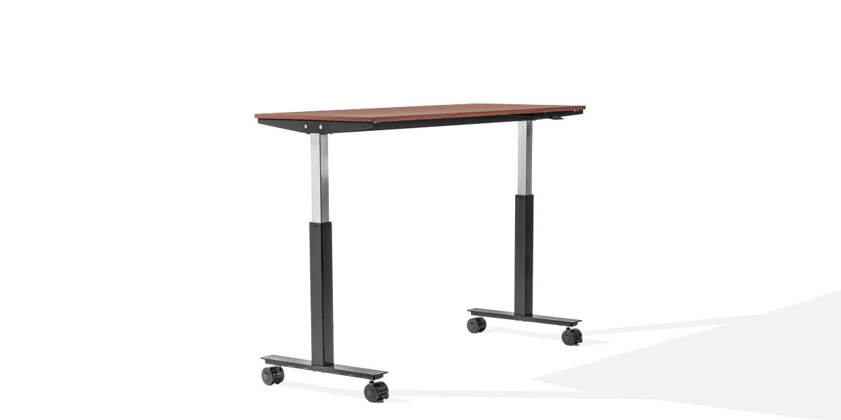"60""w x 30""h - 42""h Cherry Adjustable Height Desk DSK014277"
