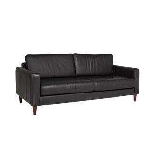 Black Leather Sofa (qty:1) SOFT110