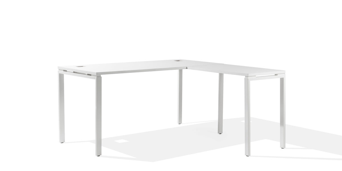 "60""w x 30""d - 35""d White Laminate Table Desk DSK014194"