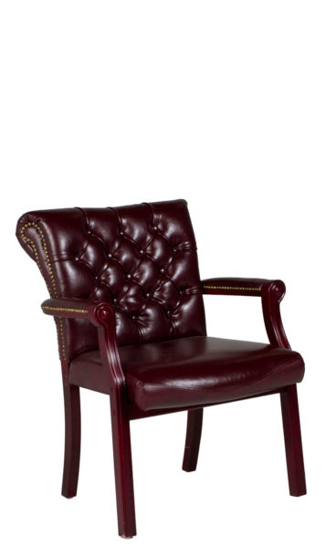 Tufted Oxblood Vinyl Traditional Guest Chair CHR012619