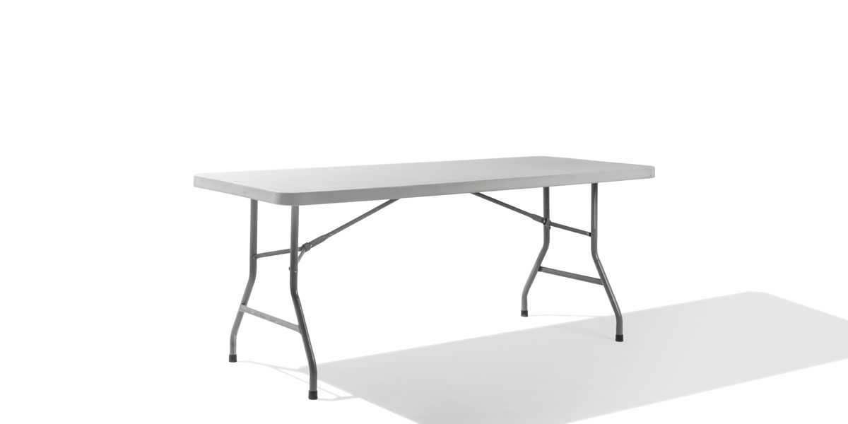 "72""w x 30""d Light Grey Folding Table TBL011755"