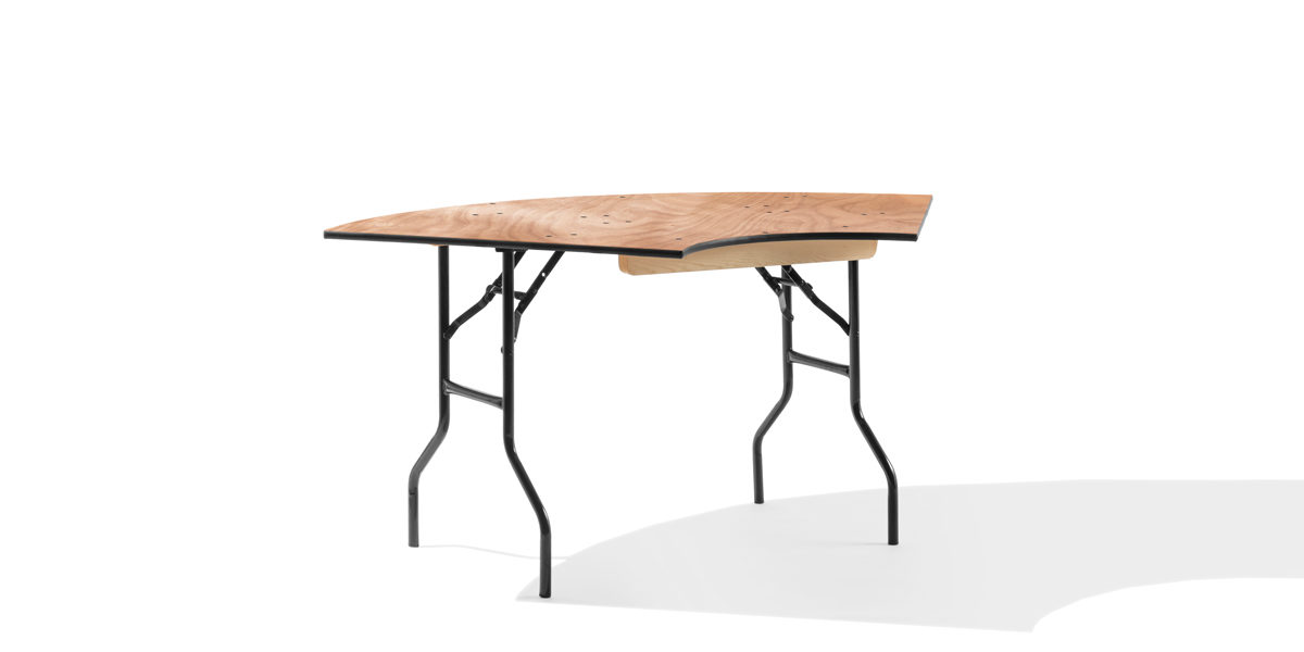 "66""w x 30""d Serpentine Wood Laminate Folding Table TBL014150"