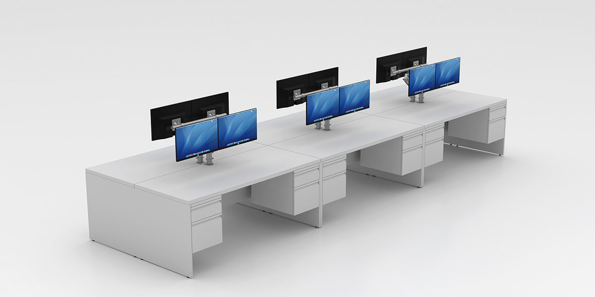 Benching Workstation (End Panels + Fixed Pedestals)