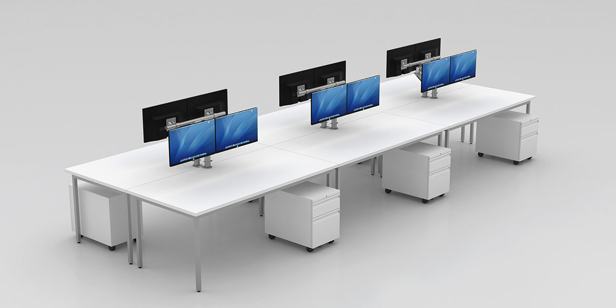 Benching Workstation (Open Legs with Mobile Pedestal)