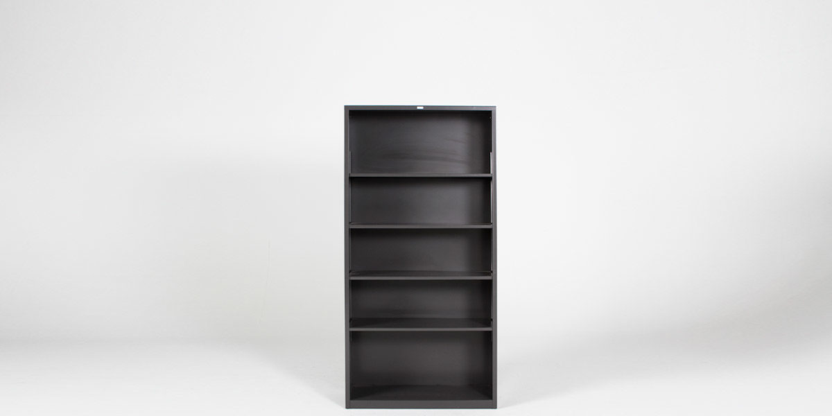 "34.5""w x 71""h Charcoal Grey Metal Bookcase BKC006449"