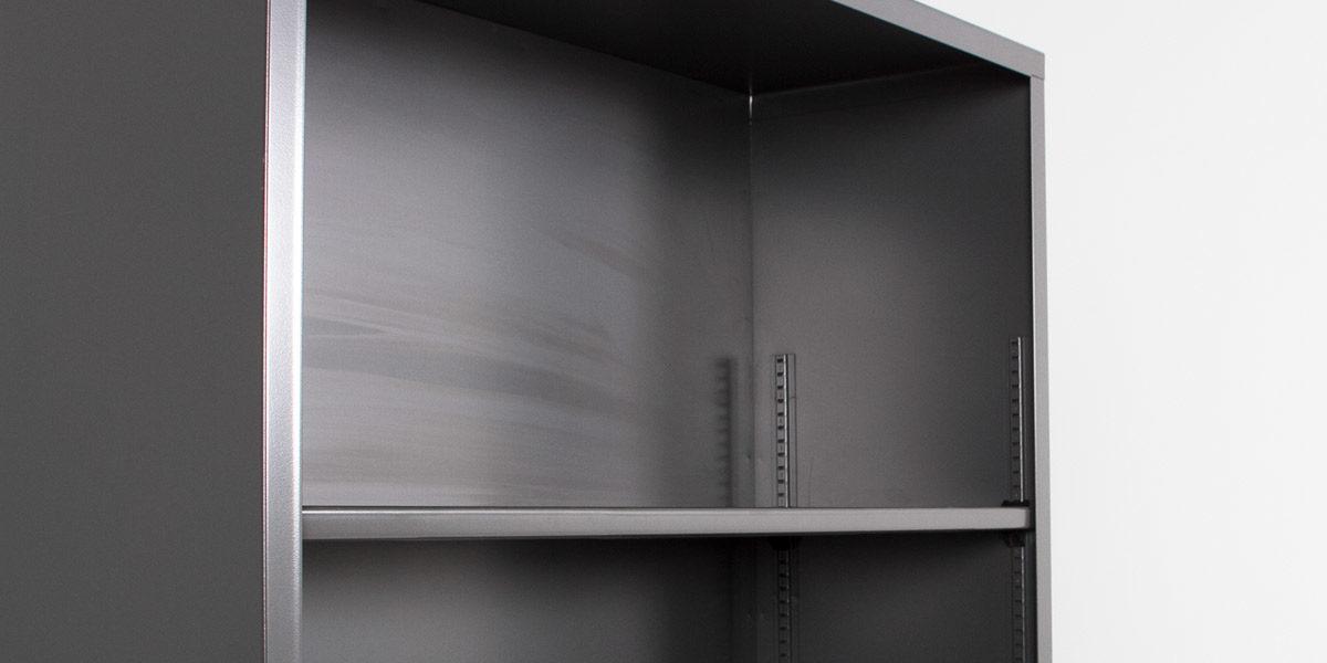 "34.5""w x 71""h Charcoal Grey Metal Bookcase BKC006449"