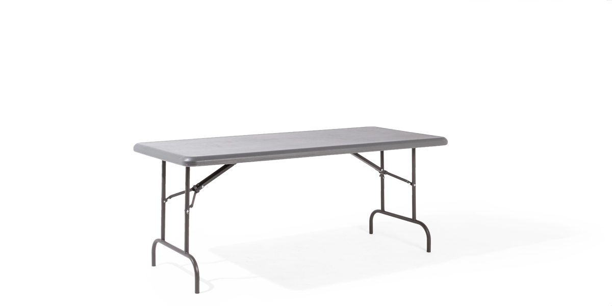 "72""w x 30""d Grey Resin Folding Table TBL013697"