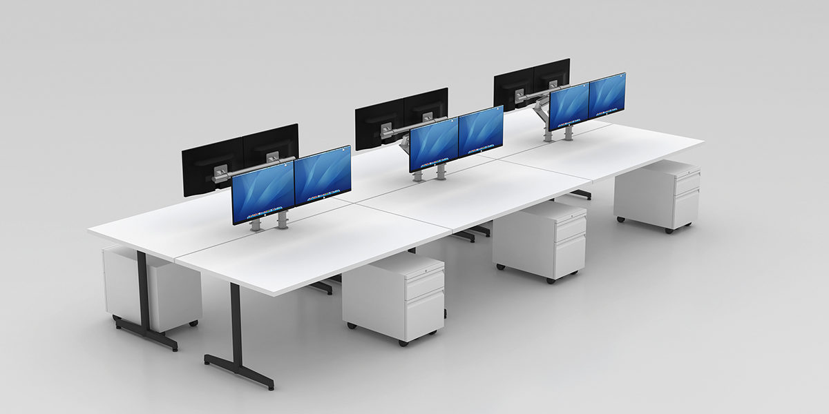 Benching Workstation (T-Legs with Mobile Pedestal)