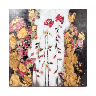 "50""w x 50""h Magenta Floral Art ART014326"