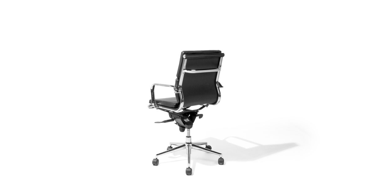 Black Leather Mid-Back Office Chair CHR014058