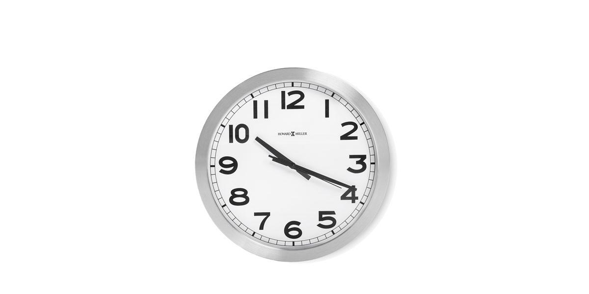 """15.75""""dia Brushed Aluminum Clock ACC014353"""