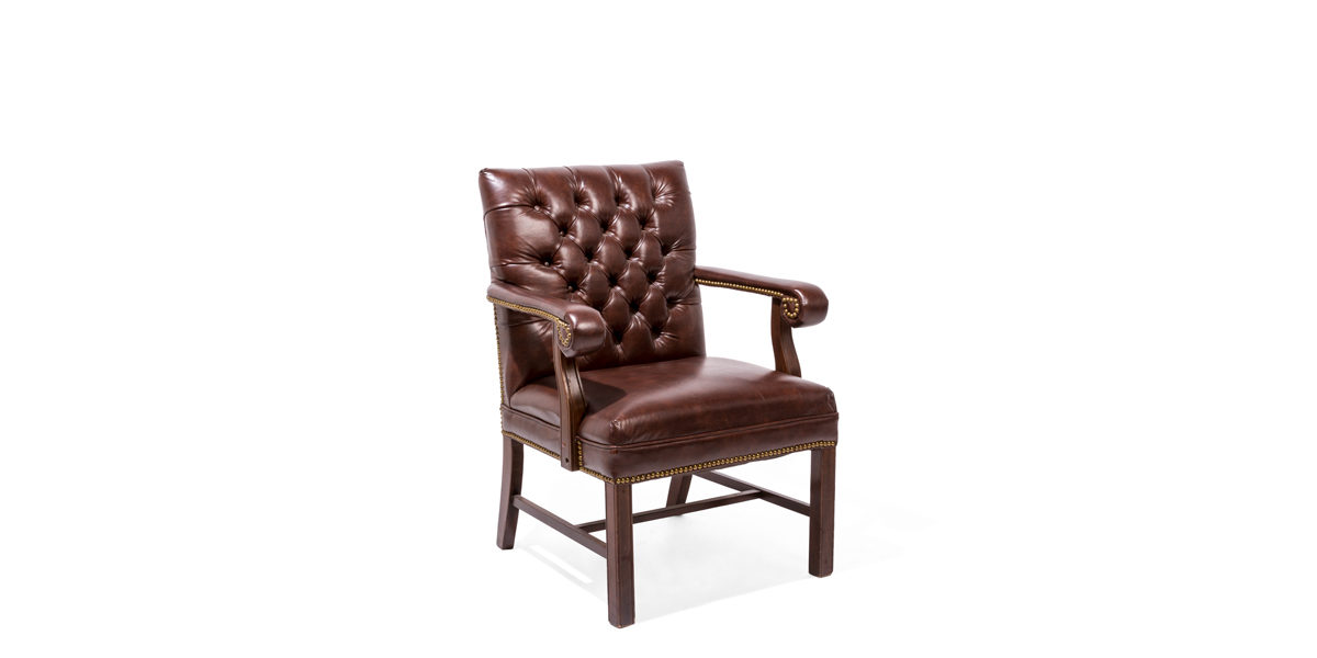 Traditional Brown Vinyl Guest Chair TRD005767