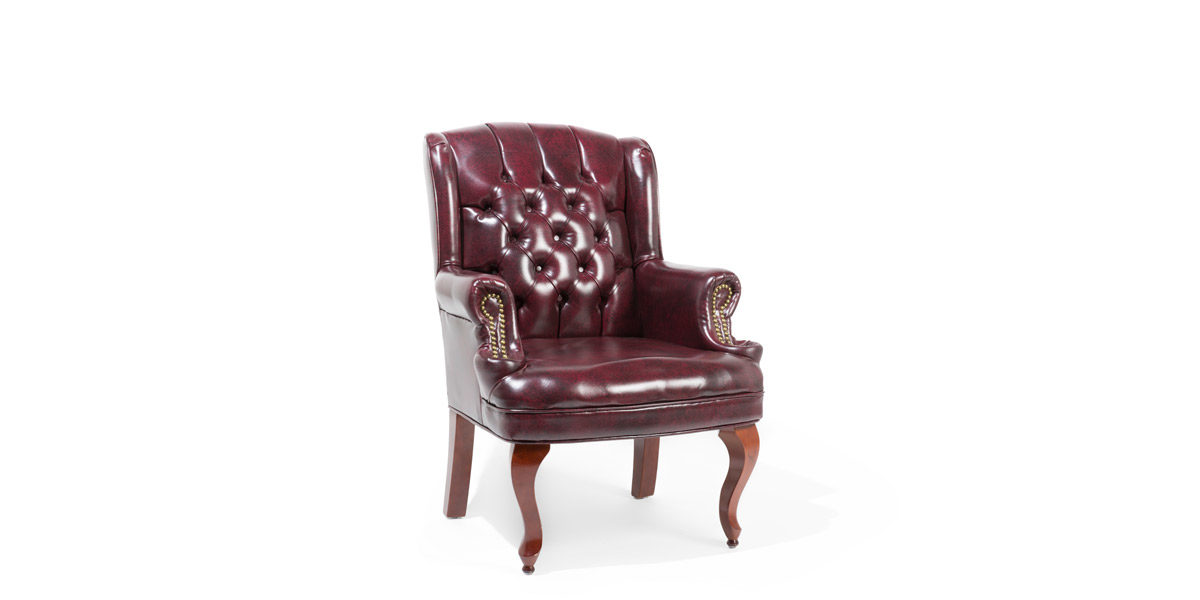 Traditional Oxblood Wing Back Guest Chair TRD012153