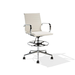 White Leather Drafting Stool CHR014359