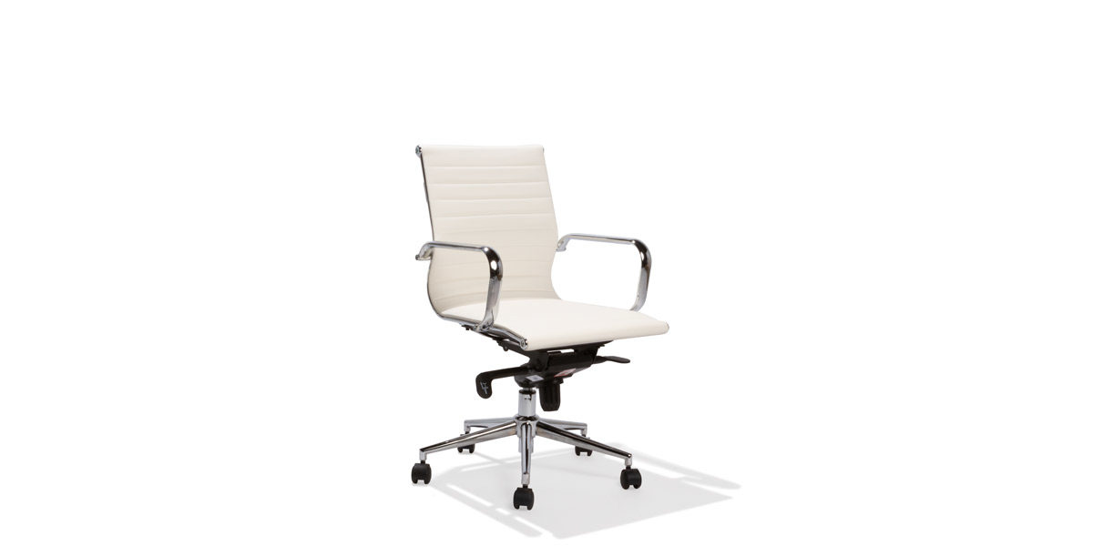 White Leather Mid-Back Chair CHR014380