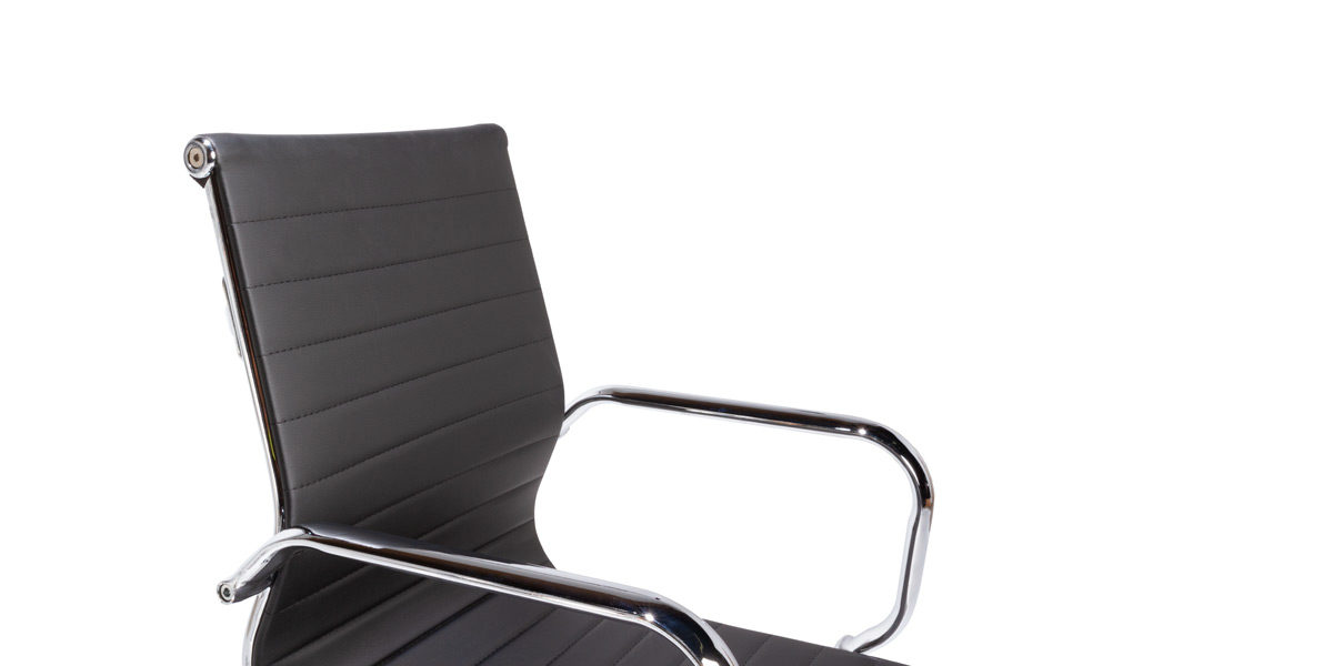 Black Leather Mid-Back Chair CHR014435