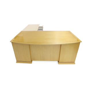 "72"" x 42"" Maple Bow Front Single Ped. Left Desk DSK012645"
