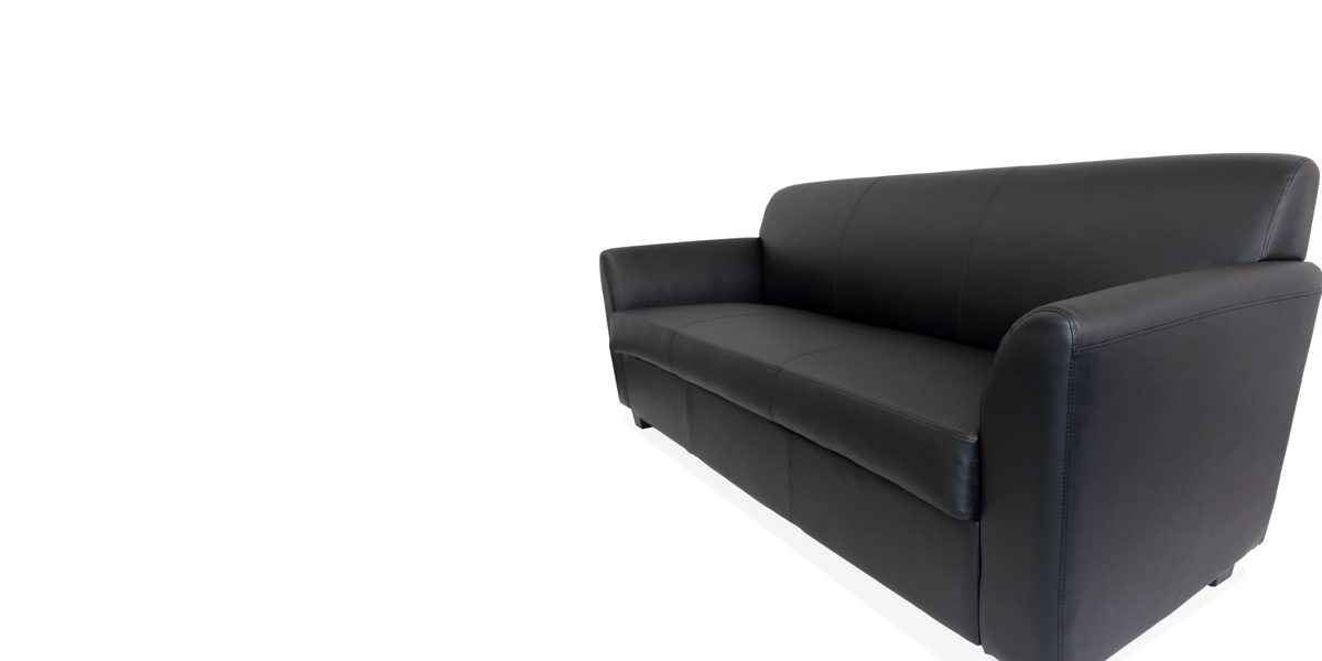 "73""W x 28 3/4""D x 32""H Black Leather Sofa SOF010675"