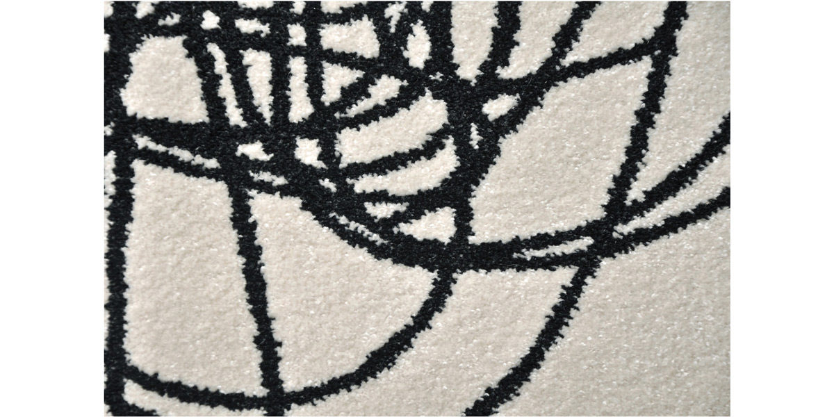 5' X 7' White/Black Design Rug MIS014609