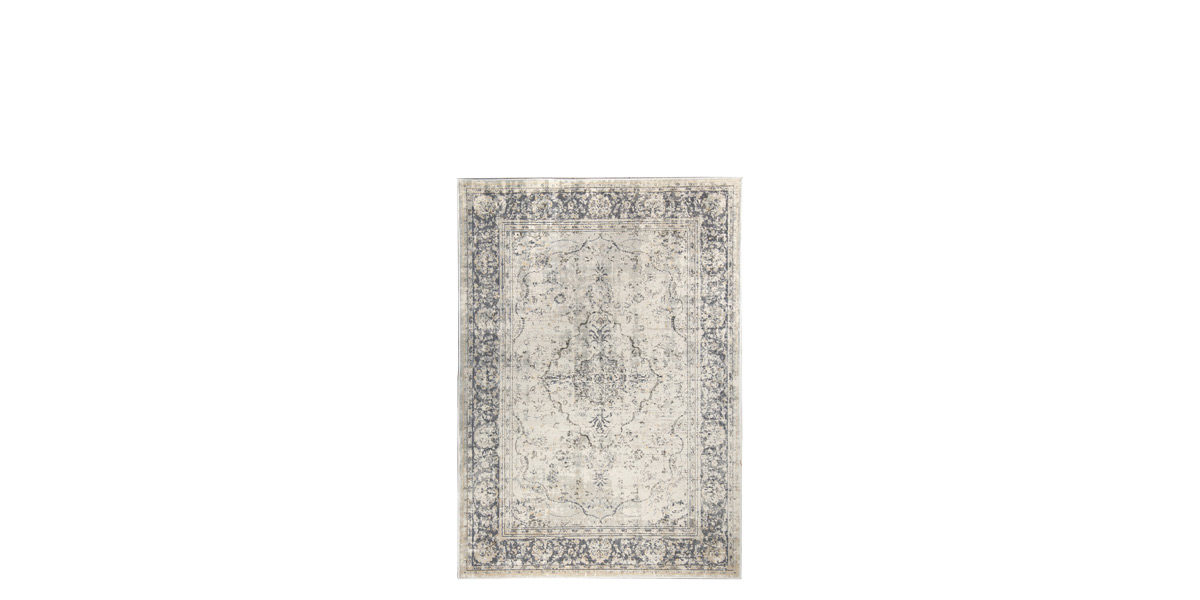 "5'2"" X 7'2"" Silky Light Grey and Cream Rug MIS014613"