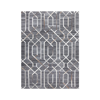"5'3"" X 7'3"" Wool/Leather Multicolor Rug MIS014617"