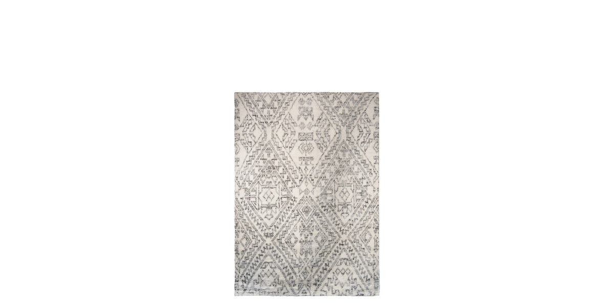 5' X 7' White/Grey Natural Wool and Cotton Rug MIS014642