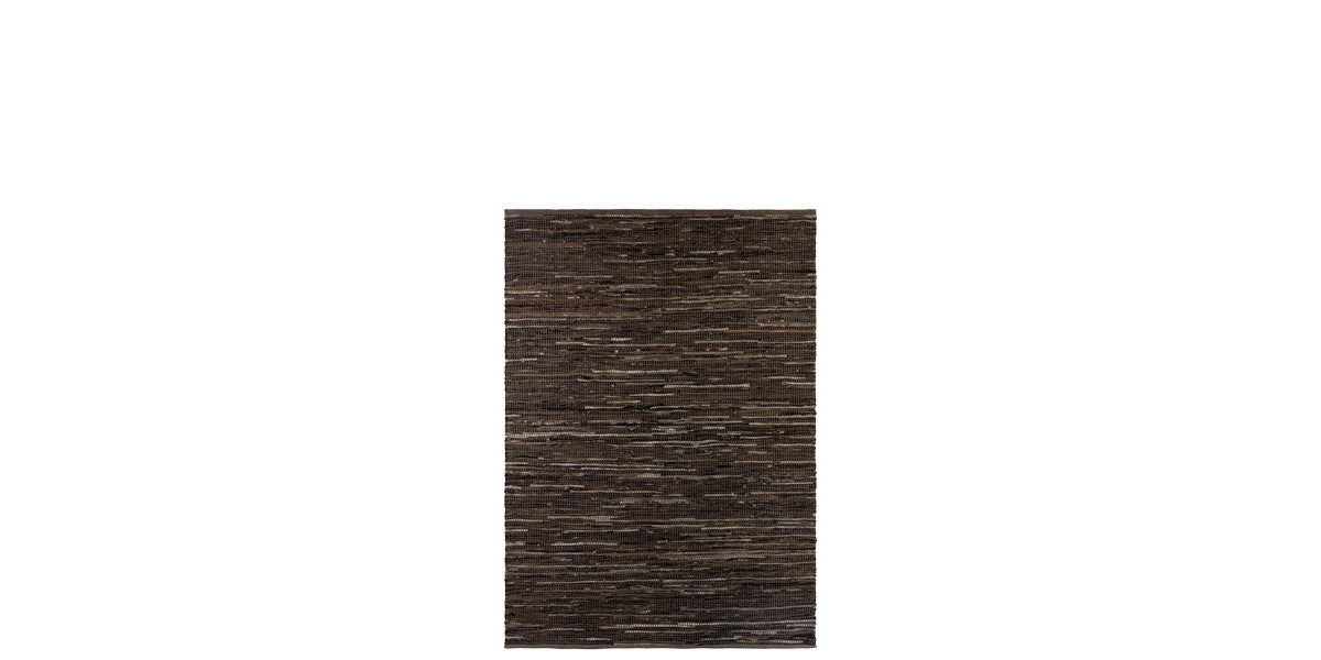 5' X 7' Dark Brown Cotton/Wool/Bovine Leather Rug MIS014643