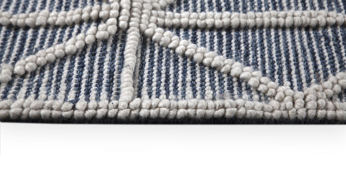 5' X 7' Punja 100% Wool  in Blue MIS014646