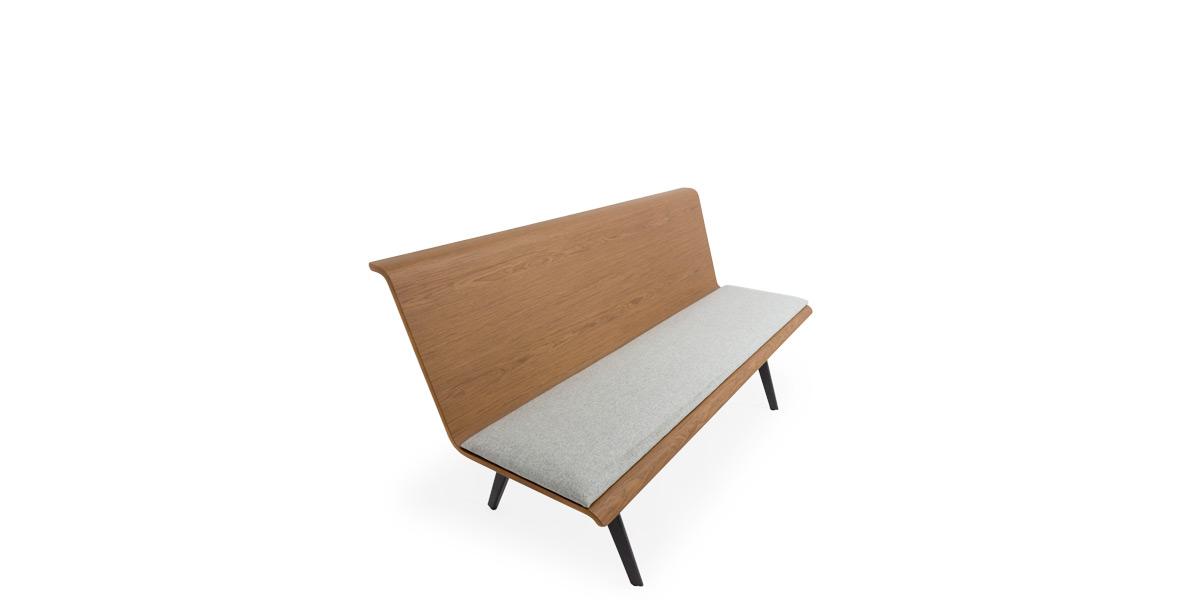 "60""W X 32""H Walnut Bench with Grey Cushion BEN014673"