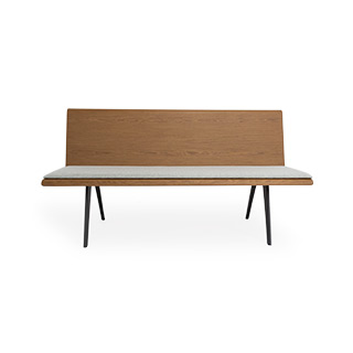 "60""W X 32""H Walnut Bench with Grey Cushion BEN014673"
