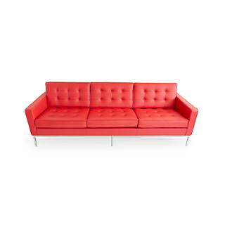 "90.5""W x 30""H x 20.25""D Red Leather Sofa SOF014656"