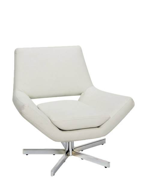 White Vinyl Lounge Chair CHR011855