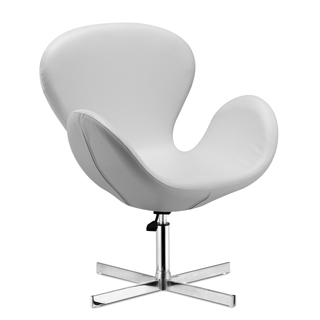 White Leather Swan Chair CHR013013