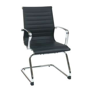 Black Leather Eames Guest Chair CHR012415