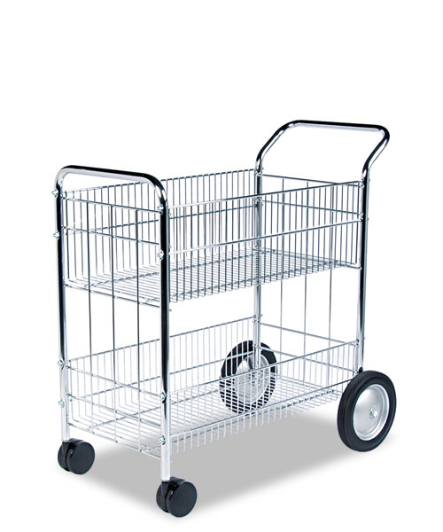 "21.5""w x 37.5""d Mesh Chrome Mail Cart MIS007125"