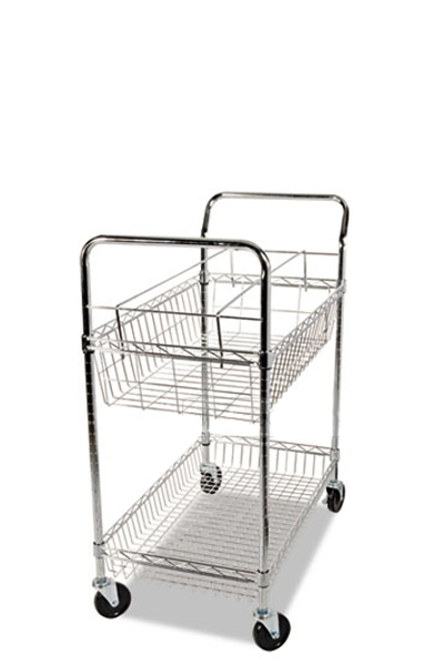 "34""w x 18""d Wired Chrome Mail Cart MIS012590"