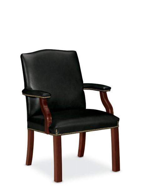 Traditional Black Vinyl Guest Chair TRD011599